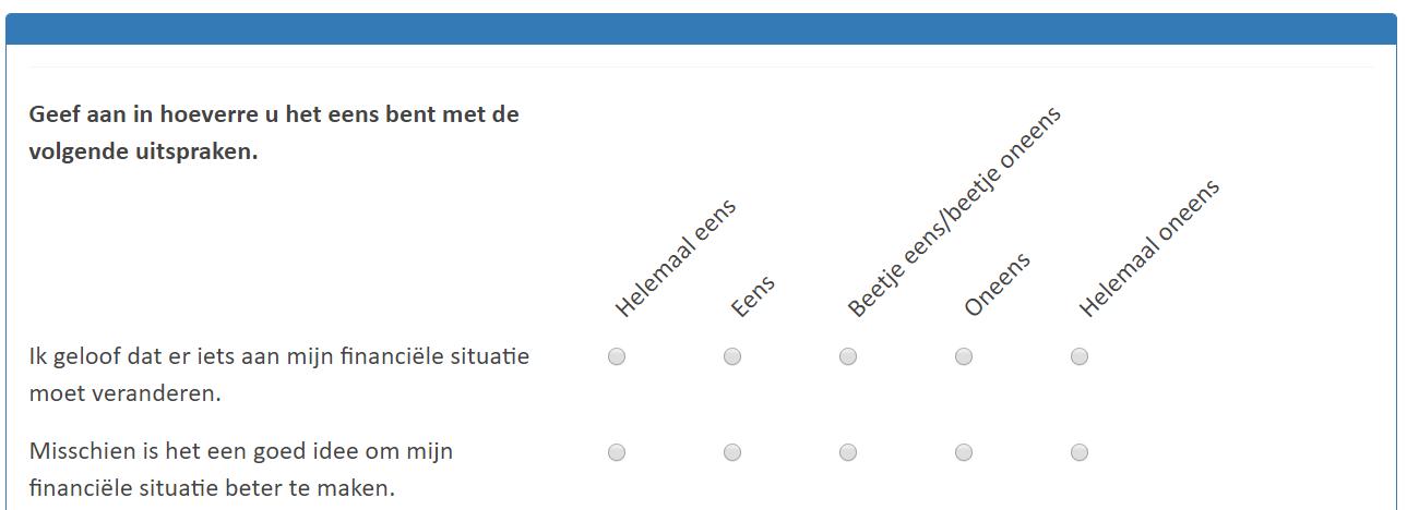 Een voorbeeld van een motivatie vraag in de vragenlijst van Mesis